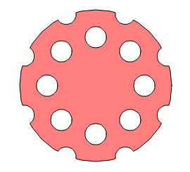 A geometric representation of a revolver cylinder face.